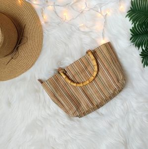 Vintage RELIC Weave Bamboo Handle Purse